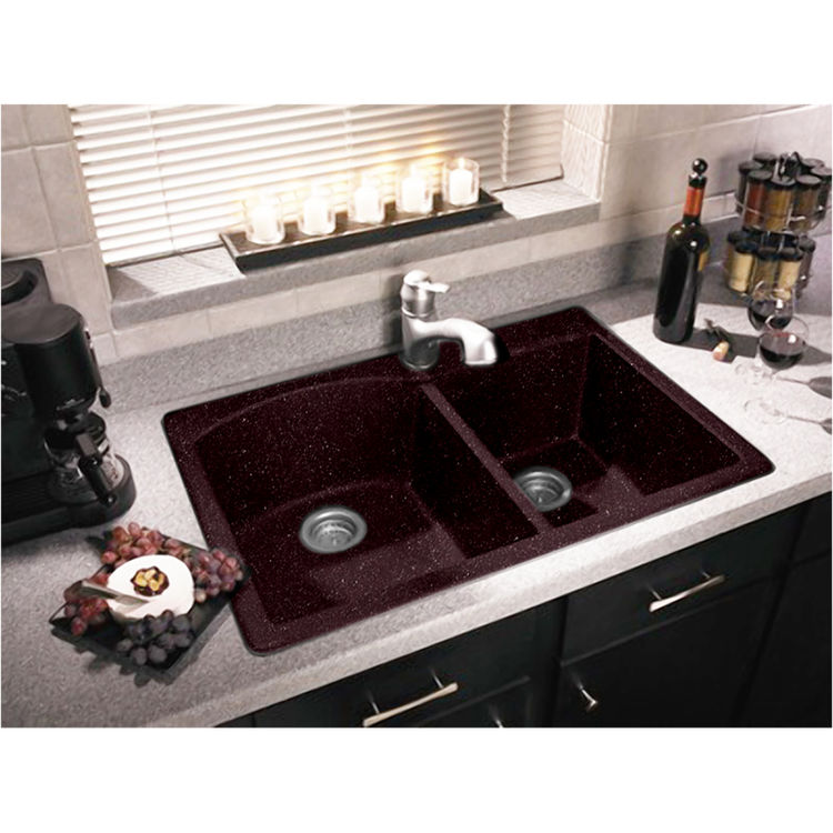 Swanstone qzdb 3322 075 drop in undermount double bowl for Swanstone undermount sinks