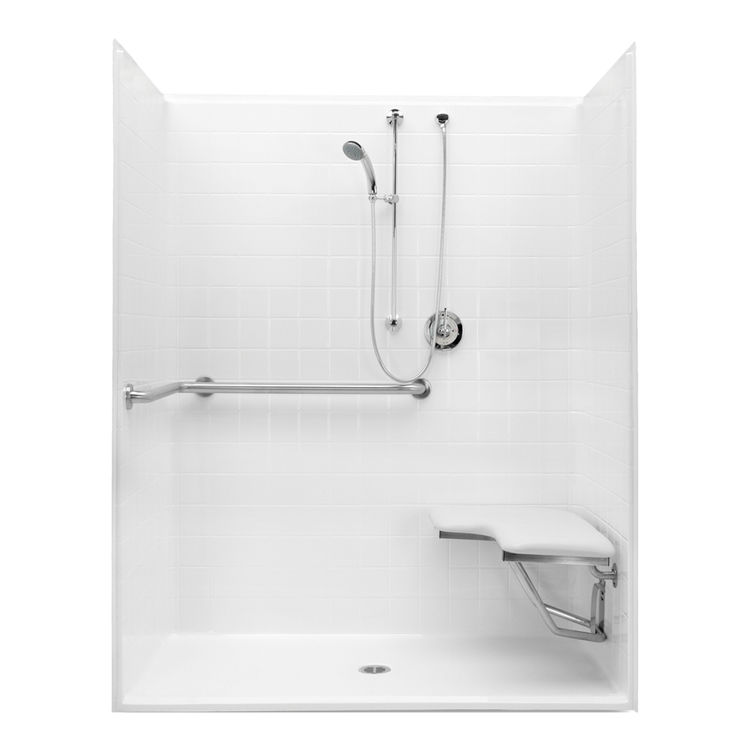 Aquatic bath 1623bfstd white 60 quot x30 quot x74 7 8 quot ada shower stall with grab bar and seat