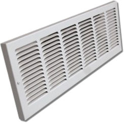 Click here to see Shoemaker 1150-18X8 18x8 Soft White Baseboard Return Air Grille (Steel) - Shoemaker 1150