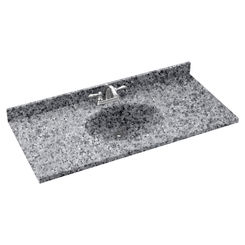 Click here to see Swanstone CH02261.042 Swanstone CH1B2261-042 Chesapeake Gray Granite Vanity Top