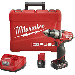 Click here to see Milwaukee 2404-22 Milwaukee M12 Cordless Hammer Drill/Driver Kit, 12 V, Lithium-Ion, 1/2 in Keyless Chuck
