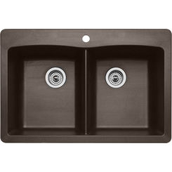Click here to see Blanco 440218 Blanco 440218 Diamond Silgranit Dual Mount Equal Double-Bowl Sink (Cafe Brown)