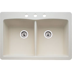 Click here to see Blanco 440222 Blanco 440222 Diamond Silgranit Dual Mount Equal Double-Bowl Sink (Biscuit)