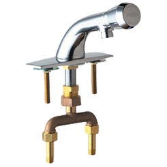 Click here to see Chicago Faucet 844-E12-665PSHABCP Chicago Faucets 844-E12-665PSHABCP Hot and Cold Water Mixing Metering Sink Faucet