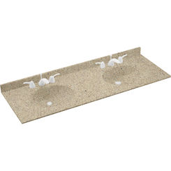 Click here to see Swanstone VT022612B.122 Swanstone VT2B2261-122 Ellipse Double Bowl Vanity Top, 61