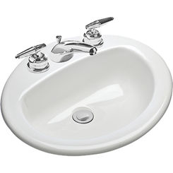 Click here to see Mansfield 237-1-WHT Mansfield MS Oval White 1 Hole Drop In Lavatory Model 237-1-WHT
