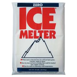 Click here to see   Zero Ice 9587 3-Way Ice Melter, 20 - 50 lb, Bag, White/Tinted Aqua, Granular Solid