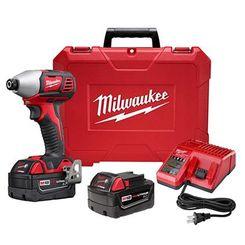 Click here to see Milwaukee 2657-22 Milwaukee 2657-22 M18 2 Speed 1/4 Hex Impact Driver Kit