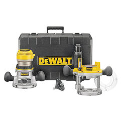 Click here to see Dewalt DW618PK Dewalt DW618PK Fixed Base Router Combo Kit, 120 V, 12 A, 2-1/4 hp, 8000 - 24000 rpm