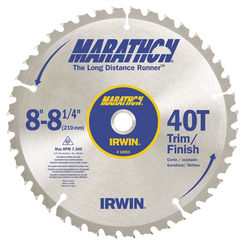 Click here to see Irwin 14053 Marathon 14053 Circular Saw Blade, 8-1/4 in Dia, 40 Teeth, 5/8 in Arbor