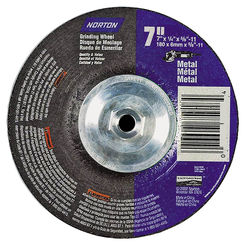 Click here to see Norton 7660775940 Norton 7660775940 Type 27 Grinding Wheel, 7 in Dia x 1/4 in T, 5/8-11 Arbor