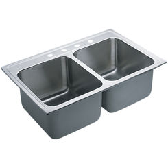 Click here to see Moen 22121 Moen Commercial 22121 Stainless Steel Double Bowl Sink