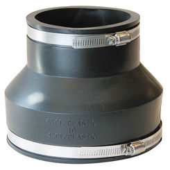 Click here to see Fernco P1056-64 Fernco 1056 Flexible Pipe Reducing Stock Coupling, 6 X 4 in x 5-3/4 in, Plastic/Cast Iron, 4.3 psi, PVC