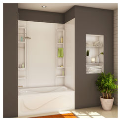 Click here to see Maax 101345-000-001 Maax Finesse 5-Piece Bathtub Wall Kit, 48 - 61 in L x 30 - 34 in W x 80 in H x 1/8 in T, White