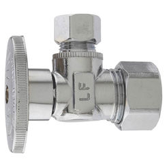 Click here to see Plumb Pak PP2659PCLF Plumb Pak PP2659PCLF Quarter Turn Angle Stop Valve, 5/8 X 3/8 in, Compression X Compression, Brass, Chrome Plated
