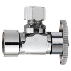 Click here to see Plumb Pak PP51-1PCLF Plumb Pak PP51-1PCLF 1/4 Turn Angle Shut-Off Valve, 1/2 X 1/2 in, FIP X OD, Brass Body, Chrome Plated