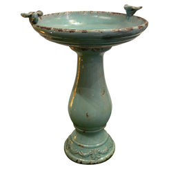 Click here to see Alpine TLR102TUR Alpine TLR102TUR Bird Bath With (2) Turquoise Birds, 18 in L X 16 in W X 25 in H, 1 Pieces, Ceramic, Turquoise