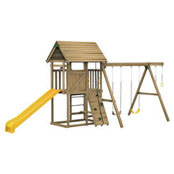 Click here to see Playstar PS 7483 Playstar All Pro Ready-to-Assemble Playset, 18 sq-ft Play Deck, 12 Activities