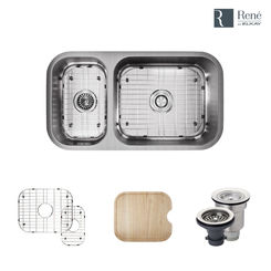 Click here to see Elkay R1-1024BR-18 Rene By Elkay R1-1024BR-18 Offset Double Bowl Undermount Stainless Steel Kitchen Sink Kit - 18-Gauge