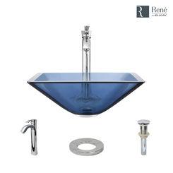 Click here to see Elkay R5-5003-CEL-R9-7006-C Rene By Elkay R5-5003-CEL-R9-7006-C Celeste Colored Glass Vessel Sink Kit