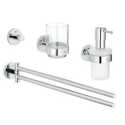 Click here to see Grohe 40846001 Grohe 40846001  Essentials Master Bathroom Accessories Set 4-in-1, Starlight Chrome