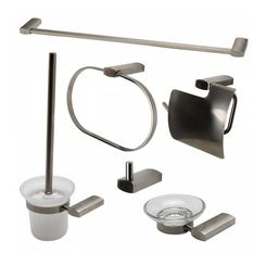 Click here to see Alfi AB9503-BN ALFI AB9503-BN 6-Piece Matching Bathroom Accessory Set, Brushed Nickel