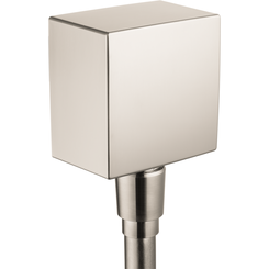 Click here to see Hansgrohe 26455821 Hansgrohe 26455821  FixFit Wall Outlet Square with Check Valve, Brushed Nickel
