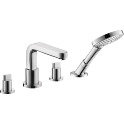 Click here to see Hansgrohe 31433001 Hansgrohe 31433001 Metris S 4-Hole Roman Tub Set Trim with Full Handles and Handshower, Chrome