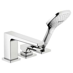 Click here to see Hansgrohe 74551001 Hansgrohe 74551001 Metropol 3-Hole Roman Tub Set Trim with Loop Handle and Handshower, Chrome