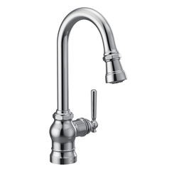 Click here to see Moen S52003 Moen S52003 Paterson Single-Handle Pulldown Bar/Prep Faucet - Chrome, Lever/Wheel Handles Included