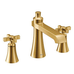Click here to see Moen TS927BG Moen TS927BG Flara Two-Handle Roman Tub Faucet Trim, Cross Handle - Brushed Gold