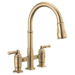 Click here to see Delta 2390L-CZ-DST Delta 2390L-CZ-DST Broderick Two Handle Pulldown Bridge Faucet, Champagne Bronze