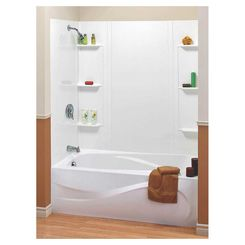 Click here to see Maax 101604-000-129 Maax 101604-000-129 5-Piece Bathtub Wall Kit, 48 - 60 in L X 31 in W X 59 in H, Polystyrene