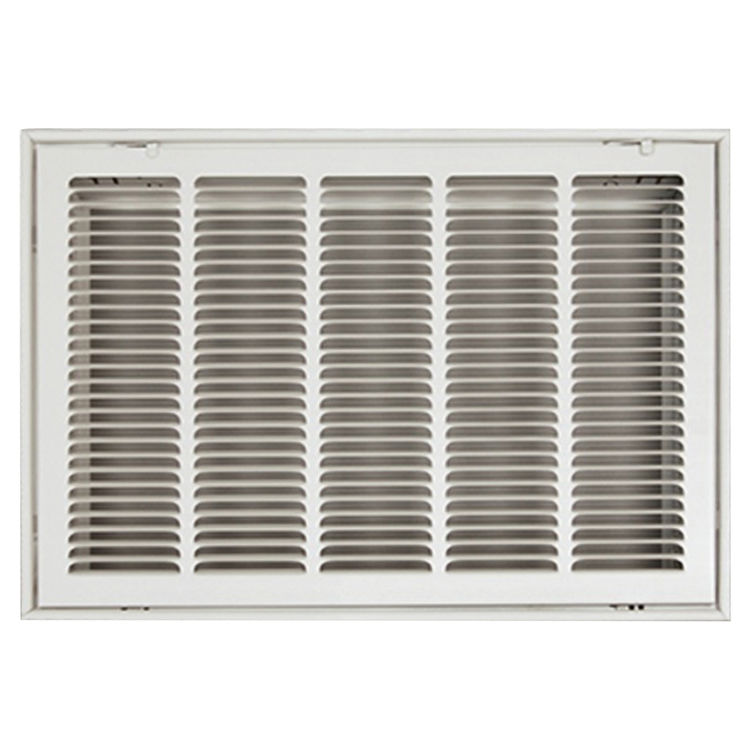 View 2 of Shoemaker FG2-20X8 20x8 Soft White Stamped Face 2 Inches Filter Grille (Steel) - Shoemaker FG2