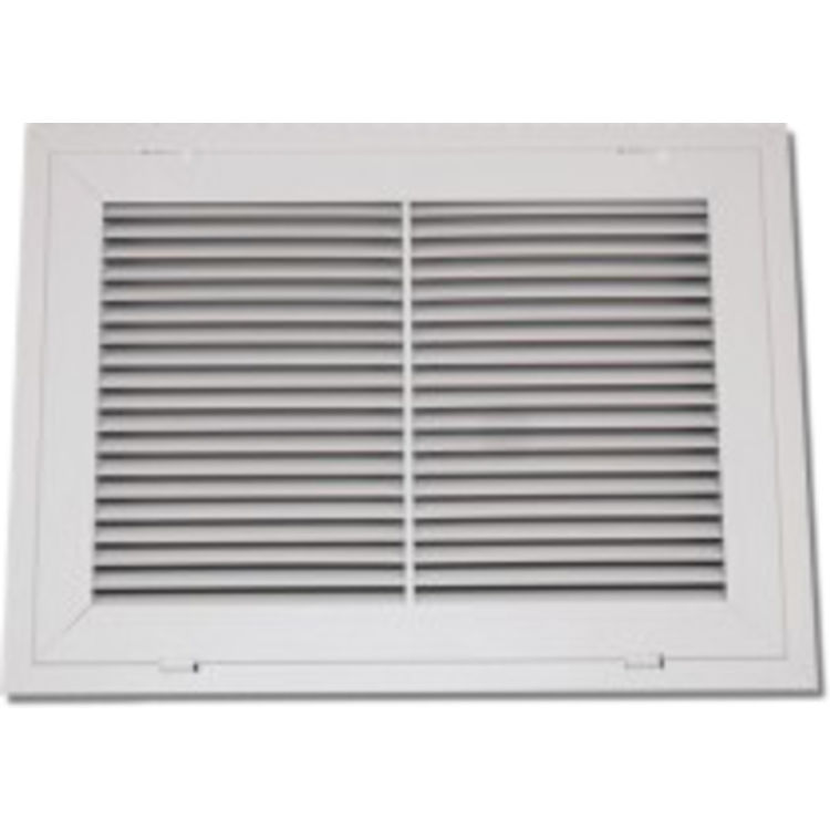 View 2 of Shoemaker 900FG-38X5 38x5 Soft White Fixed Airfoil Blade Filter Grille (Aluminum) - Shoemaker 900FG