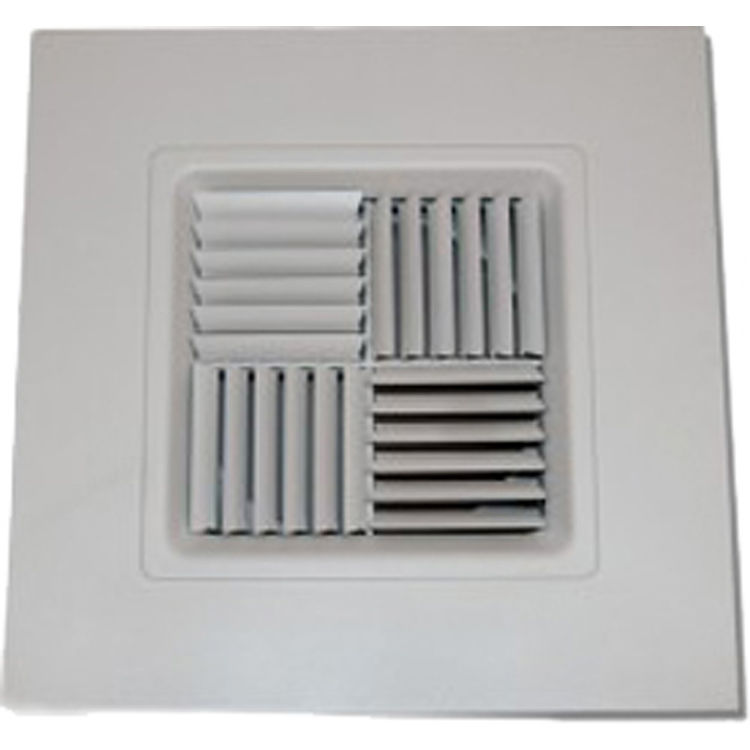 View 2 of Shoemaker 700MA0-12X12-7 12X12-7 Soft White Modular Core Diffuser in T-Bar Panel Opposed Blade Damper- Shoemaker 700MA-0