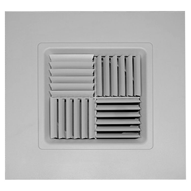 View 2 of Shoemaker 700MA0-18X18-8 18X18-8 Soft White Modular Core Diffuser in T-Bar Panel Opposed Blade Damper- Shoemaker 700MA-0