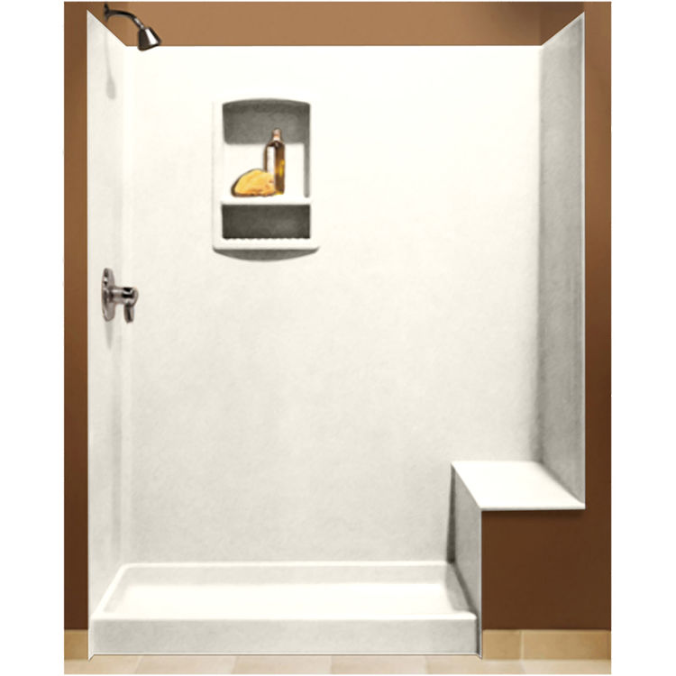 Swanstone BK-326072-010 White Shower Wall Kit With Floor, Wall,