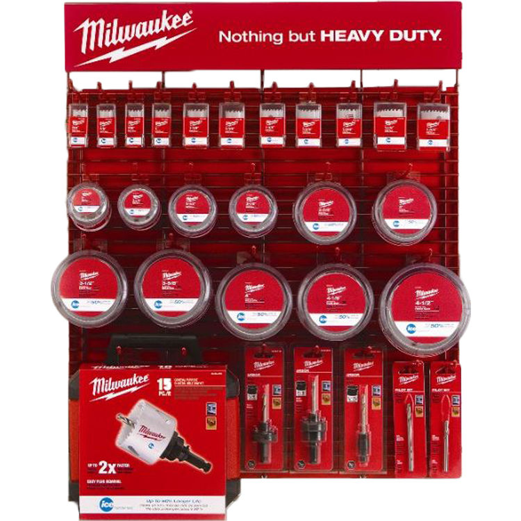 Milwaukee 49-22-6016H Milwaukee 49-22-6016H Red Rack Hole Saw Merchandiser - Small With Price Tags