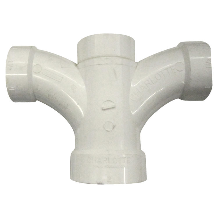 Commodity  Canplas 194149 2 x 1.5 x 1.5 x 1.5 Inches PVC DWV Double Fixture Tee