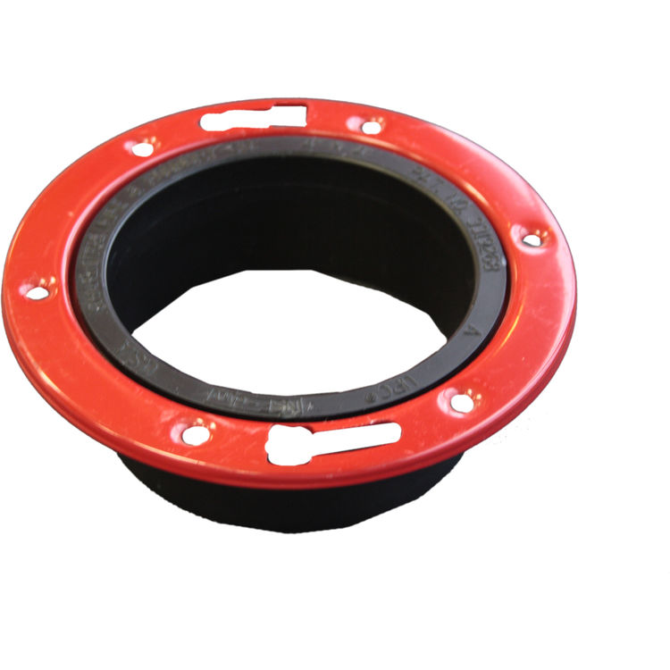 View 2 of Commodity  4 Inch ABS Closet Flange with Metal Ring, ABS Construction
