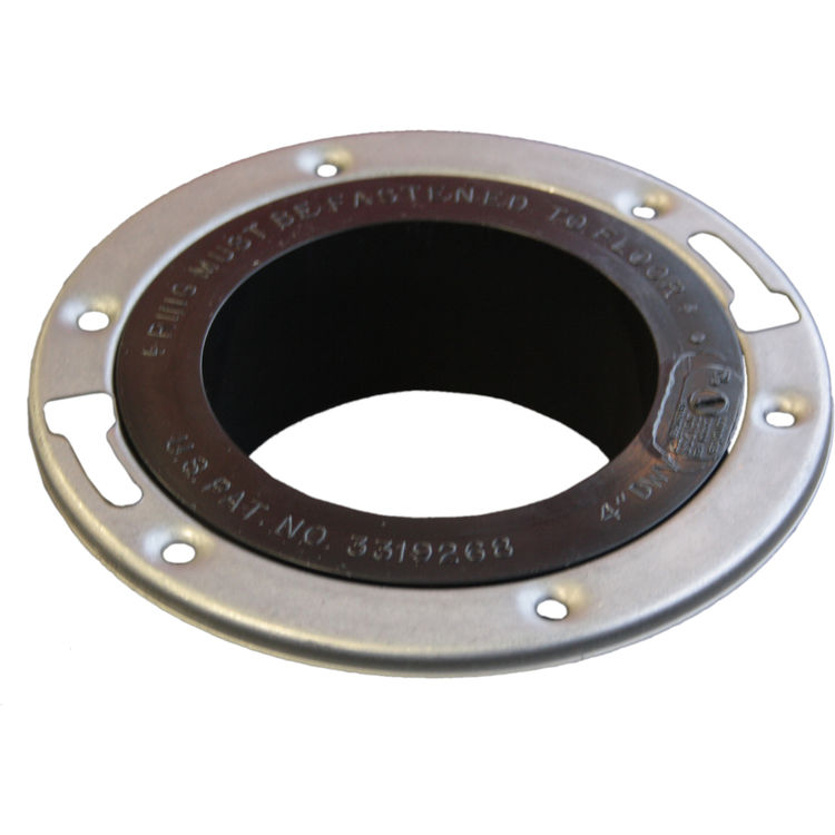 Commodity  4 Inch ABS Spigot Closet Flange with Metal Ring, ABS Construction