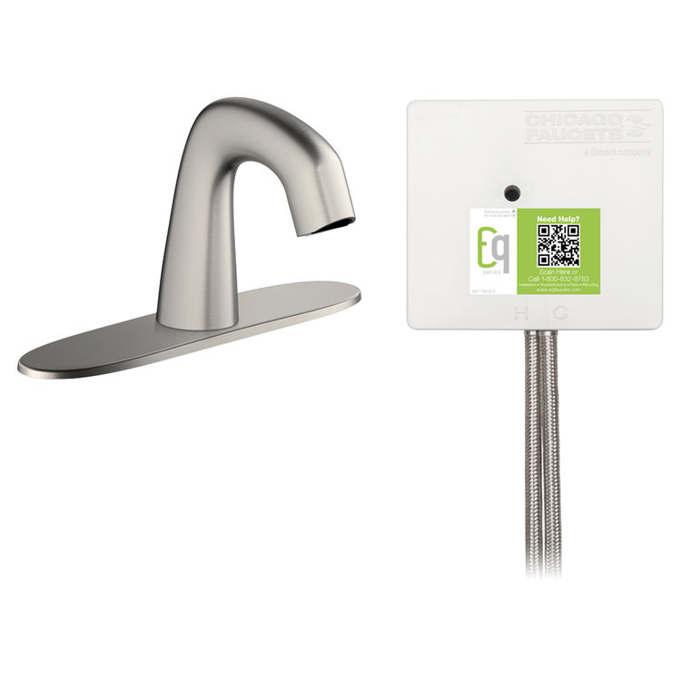 View 2 of Chicago Faucet EQ-A13A-13ABBN Chicago Faucets EQ-A13A-13ABBN EQ Brushed Nickel EQ Curved Series Lavatory Sink Faucet with Hands-free Infrared Detection