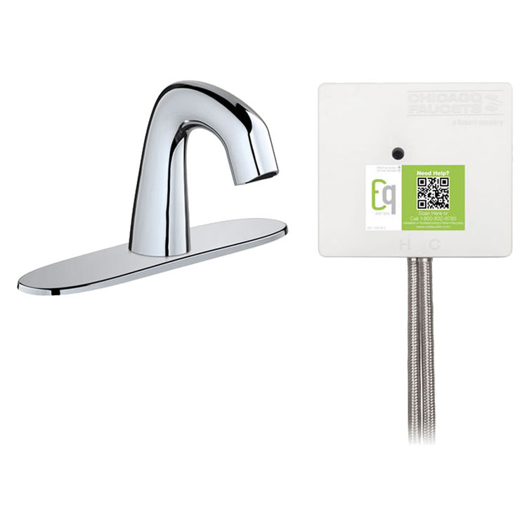 View 2 of Chicago Faucet EQ-A13B-22ABCP Chicago Faucets EQ-A13B-22ABCP EQ Chrome EQ Curved Series Lavatory Sink Faucet with Hands-free Infrared Detection