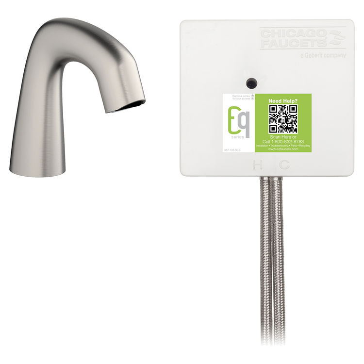 View 2 of Chicago Faucet EQ-A11A-53ABBN Chicago Faucets EQ-A11A-53ABBN EQ Brushed Nickel EQ Curved Series Lavatory Sink Faucet with Hands-free Infrared Detection