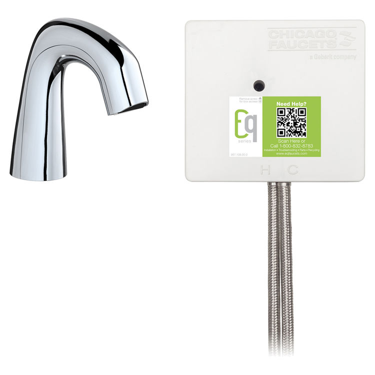 View 2 of Chicago Faucet EQ-D11A-32ABCP-MP Chicago Faucets EQ-D11A-32ABCP-MP EQ Chrome EQ Curved Series Lavatory Sink Faucet with Hands-free Infrared Detection - Master Pack of 6