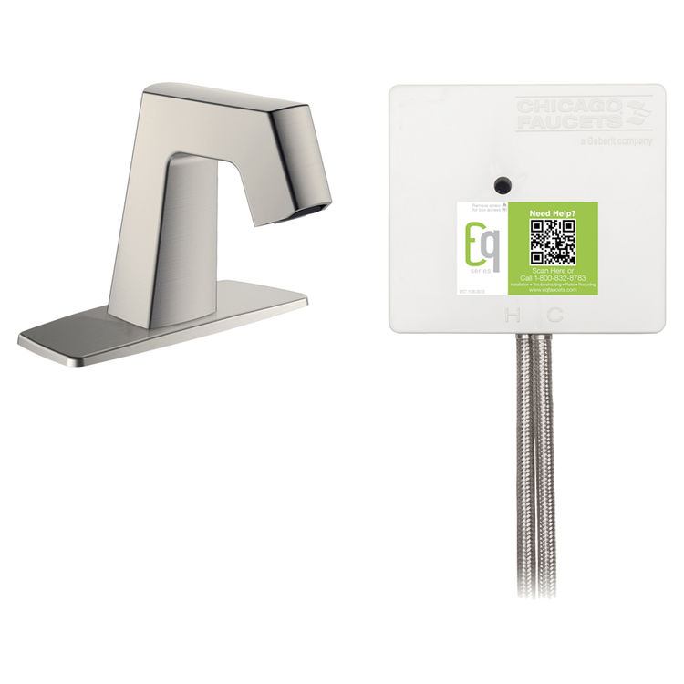 View 2 of Chicago Faucet EQ-B12A-52ABBN Chicago Faucets EQ-B12A-52ABBN EQ Brushed Nickel EQ Angular Series Lavatory Sink Faucet with Hands-free Infrared Detection
