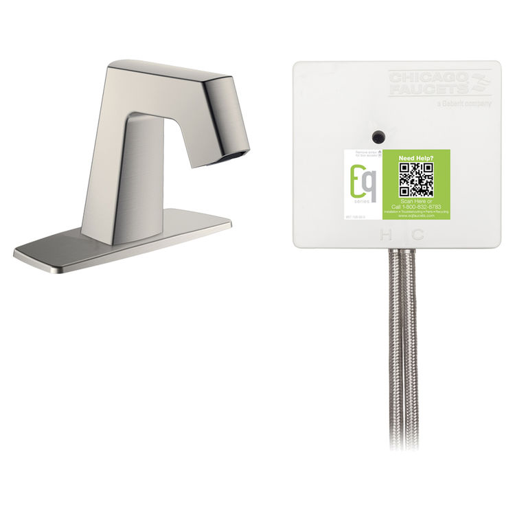 View 2 of Chicago Faucet EQ-B12A-43ABBN Chicago Faucets EQ-B12A-43ABBN EQ Brushed Nickel EQ Angular Series Lavatory Sink Faucet with Hands-free Infrared Detection