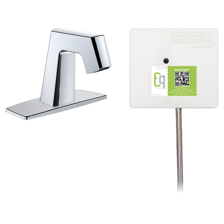 View 2 of Chicago Faucet EQ-B12A-41ABCP Chicago Faucets EQ-B12A-41ABCP EQ Chrome EQ Angular Series Lavatory Sink Faucet with Hands-free Infrared Detection
