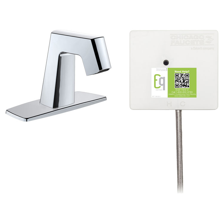 View 2 of Chicago Faucet EQ-B12B-21ABCP Chicago Faucets EQ-B12B-21ABCP EQ Chrome EQ Angular Series Lavatory Sink Faucet with Hands-free Infrared Detection